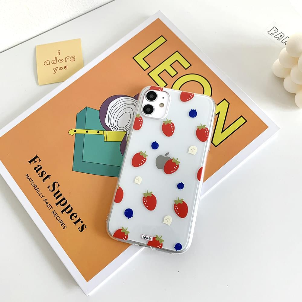 Waffle Strawberry Transparent Jelly iPhone Case