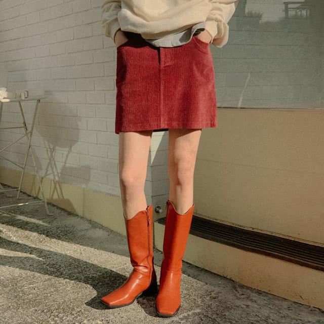 Midnight corduroy mini skirt