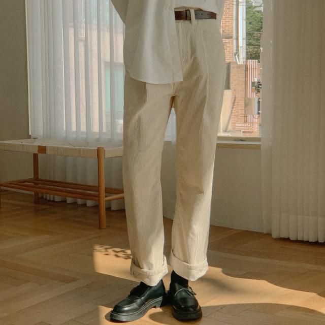 Soul pintuck wide corduroy pants