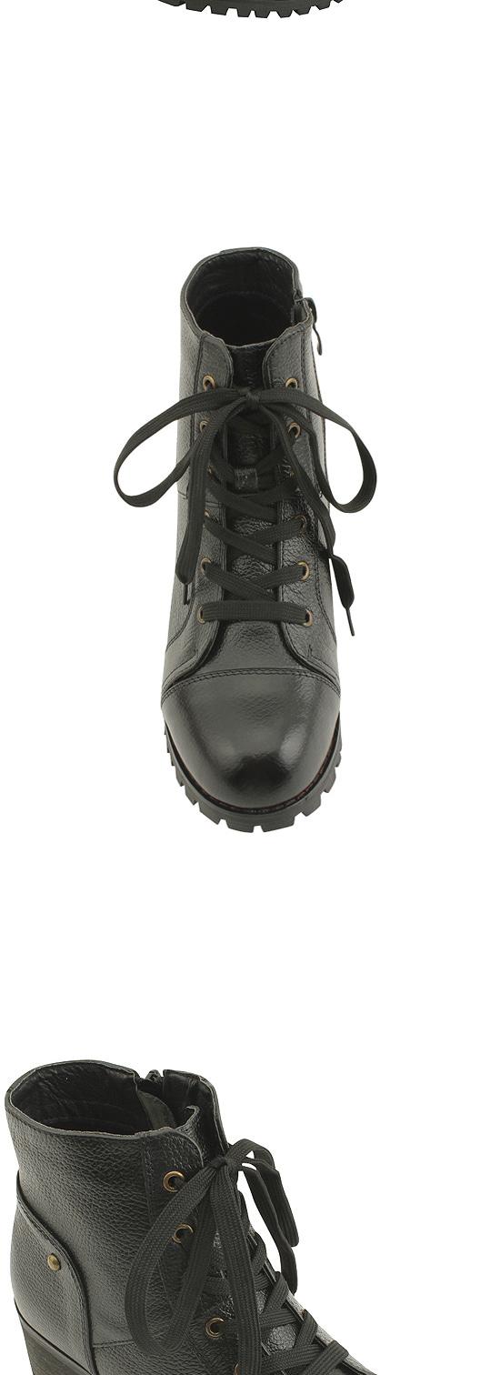 Cowhide Boyish Whole Heel Middle Heel Walker 5cm