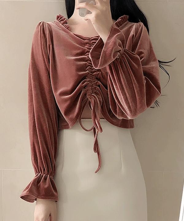 String velvet crop blouse
