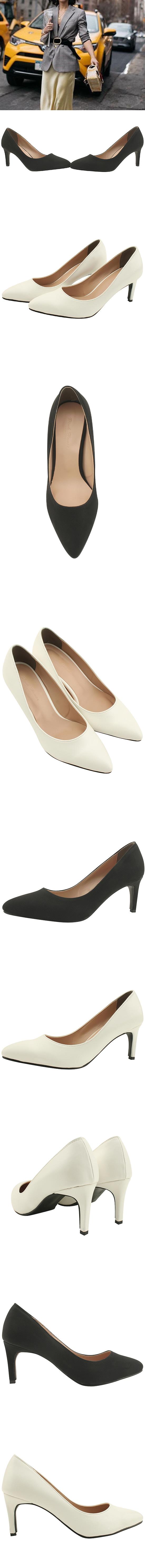 Stiletto Basic Middle Heel Shoes 7cm White