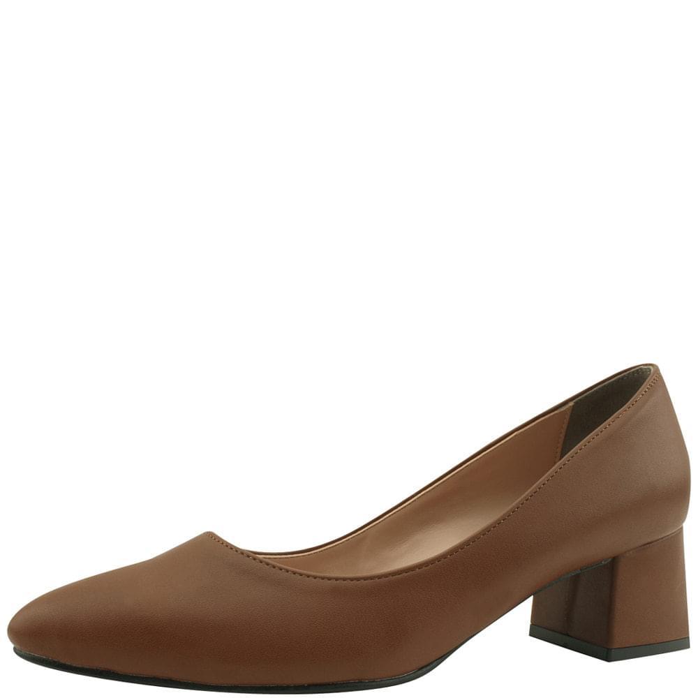 Stiletto heel matte middle heel brown