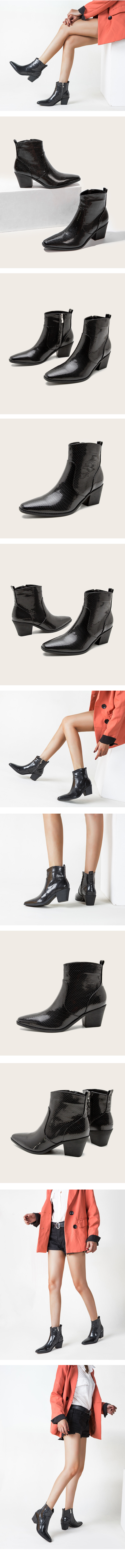 Western middlehill python ankle boots enamel