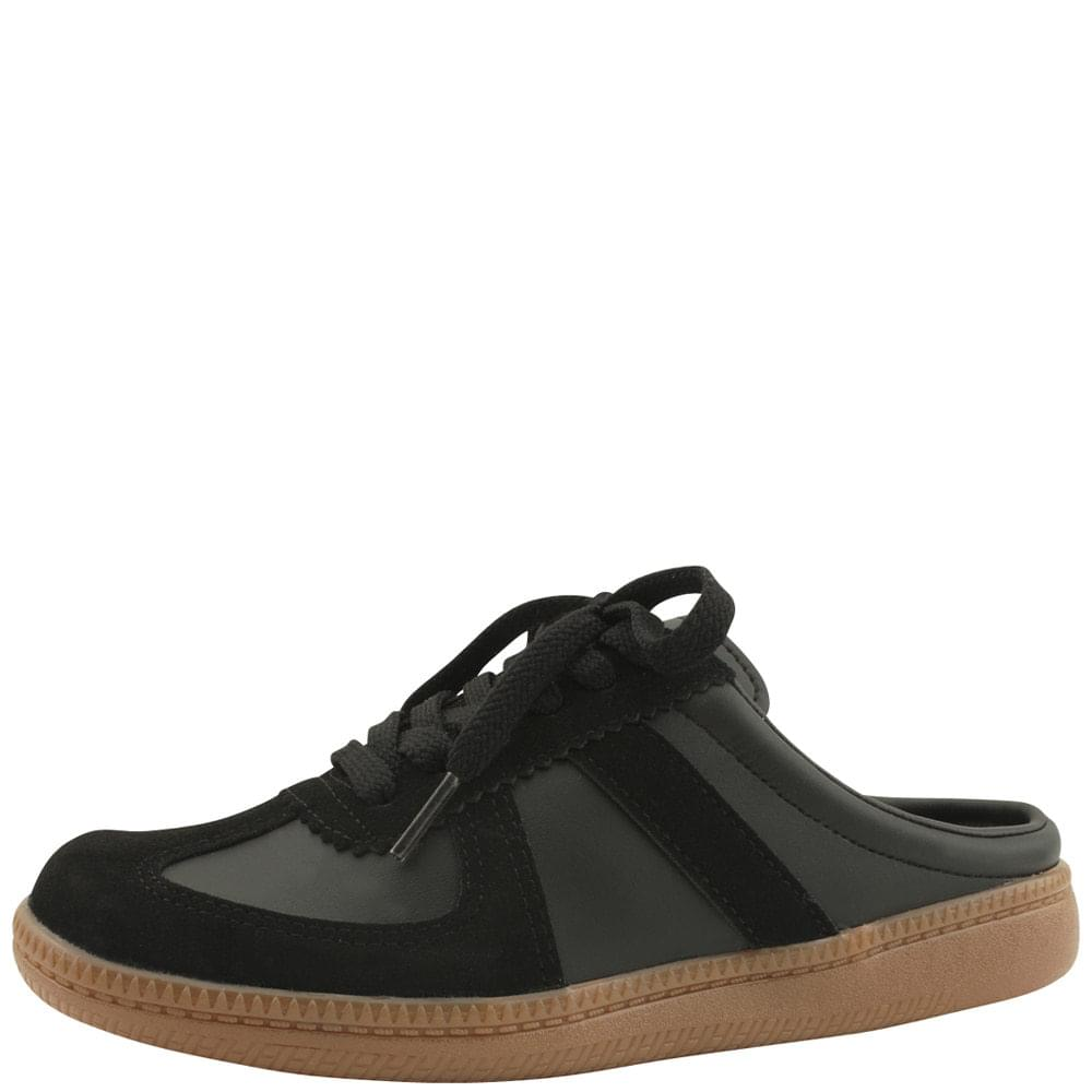 Cowhide Two-Tone Sneakers Mule Blooper Black