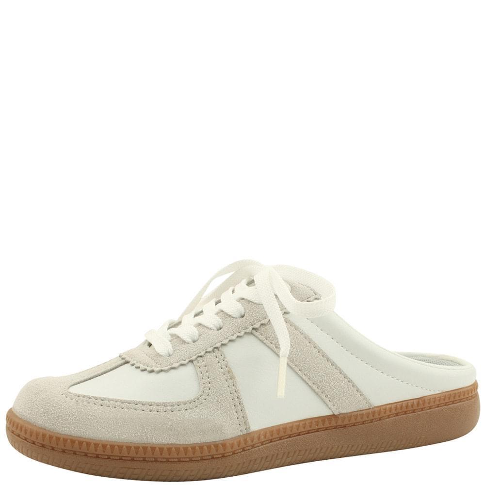 Cowhide Two Tone Sneakers Mule Blooper Beige