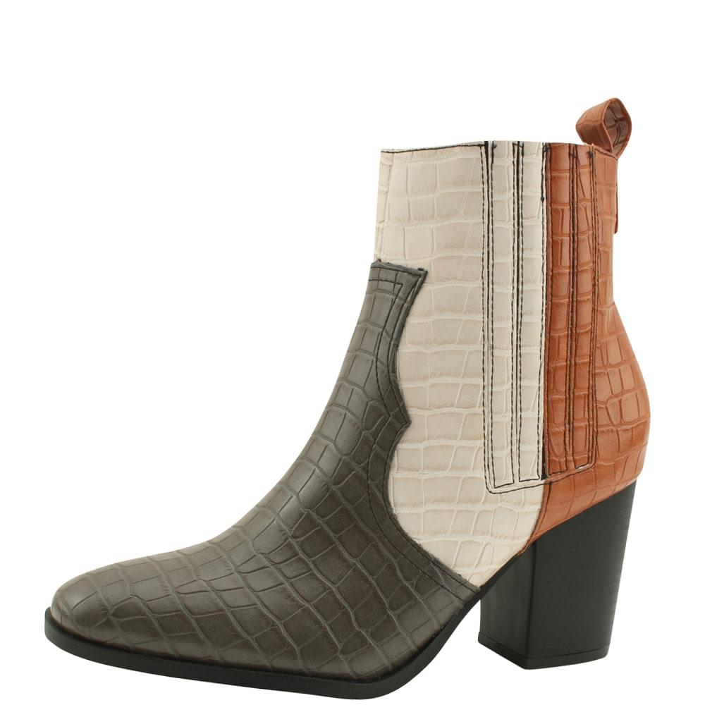Python Western Chelsea Banding Middle Boots Beige