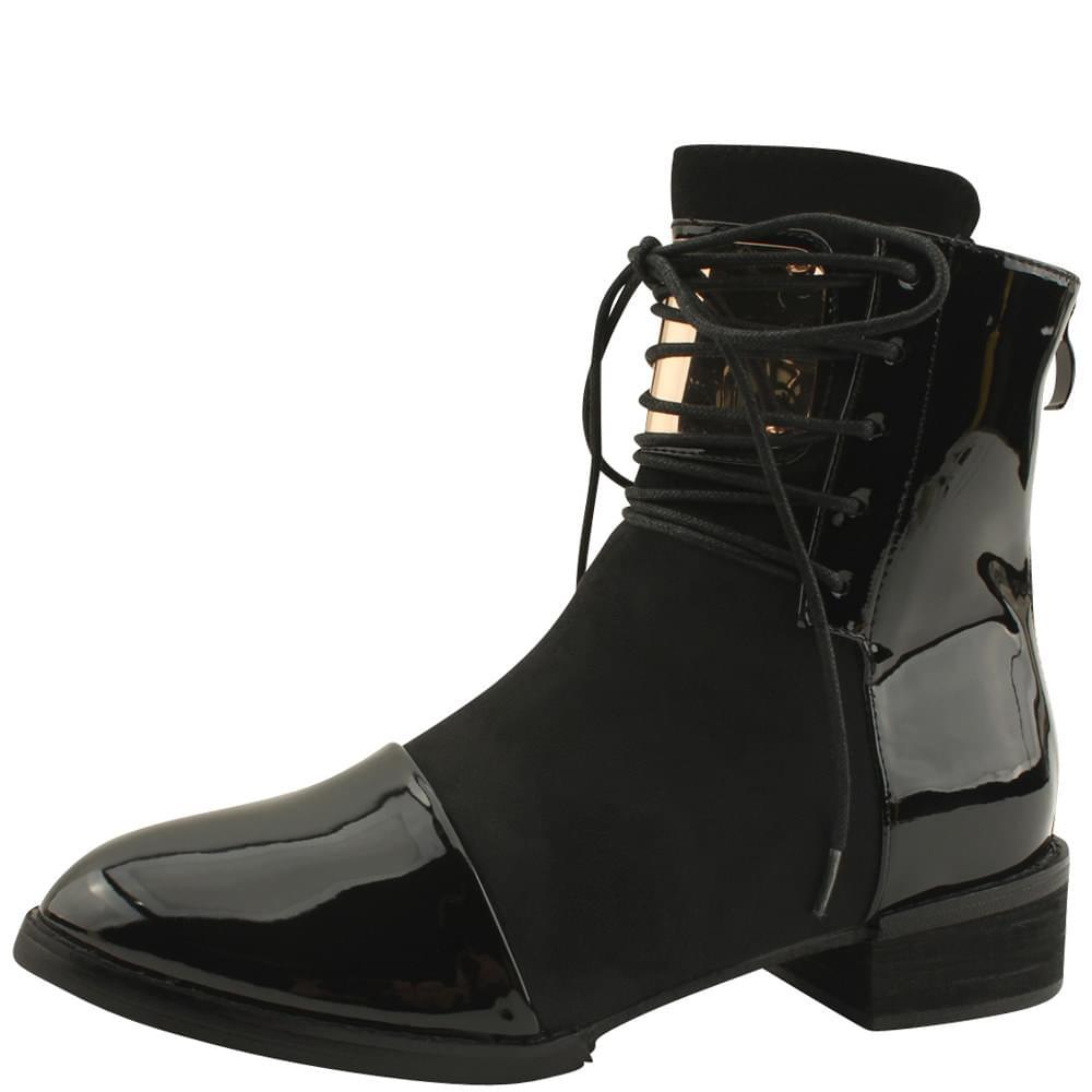Enamel Metal Walker Ankle Boots Black