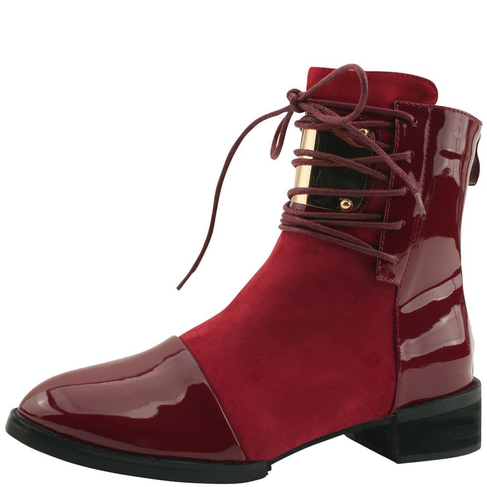 Enamel Metal Walker Ankle Boots Burgundy
