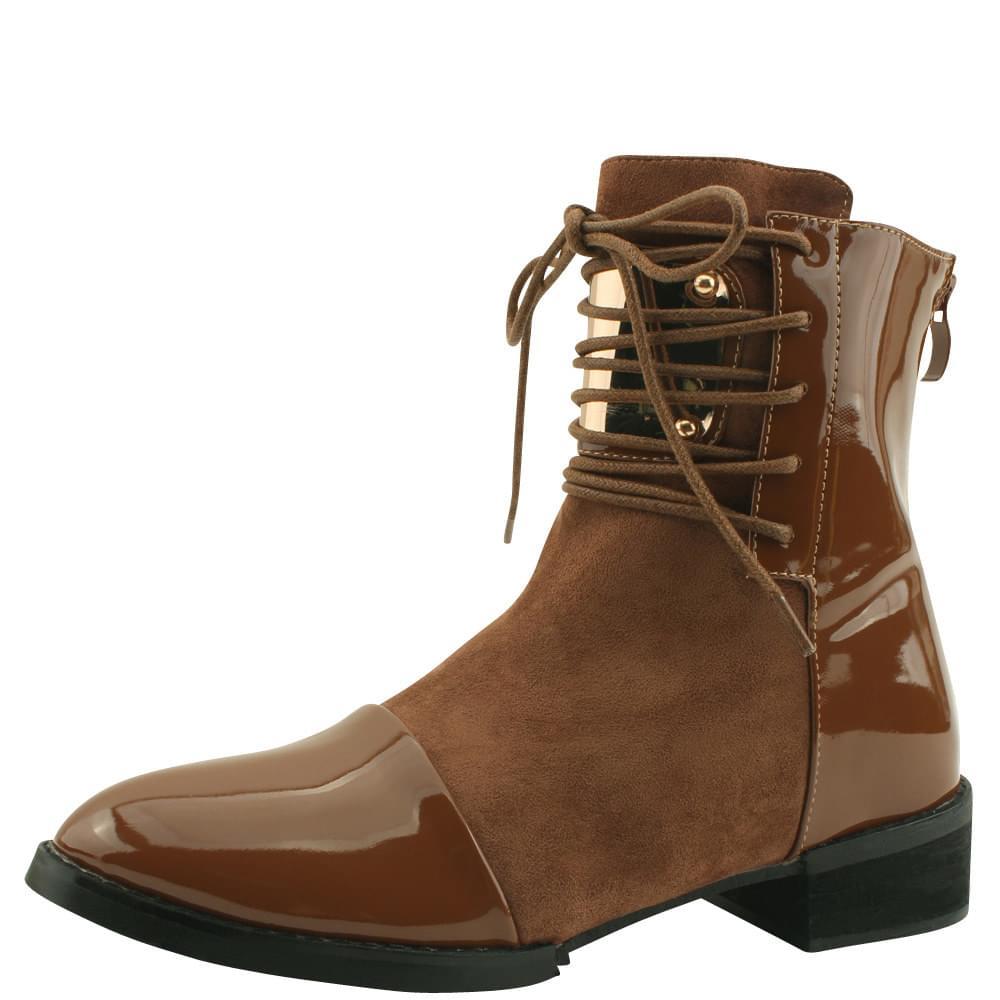Enamel Metal Walker Ankle Boots Brown