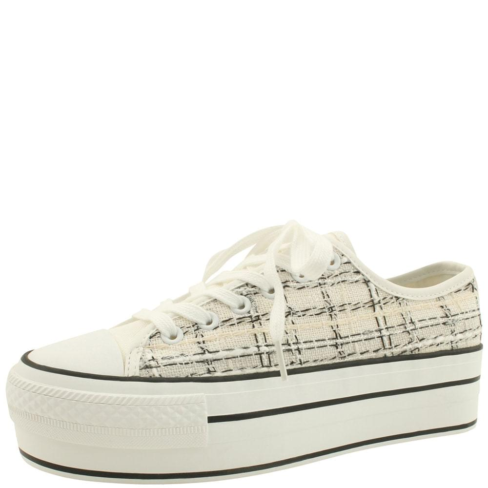 Wool Check Whole Heel Sneakers White