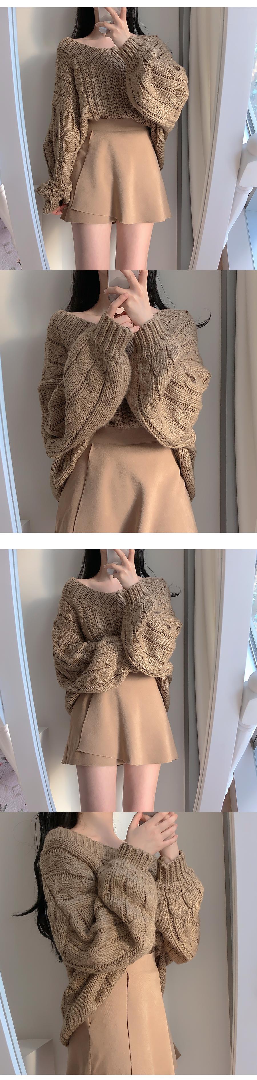 V領寬鬆麻花紋針織衫