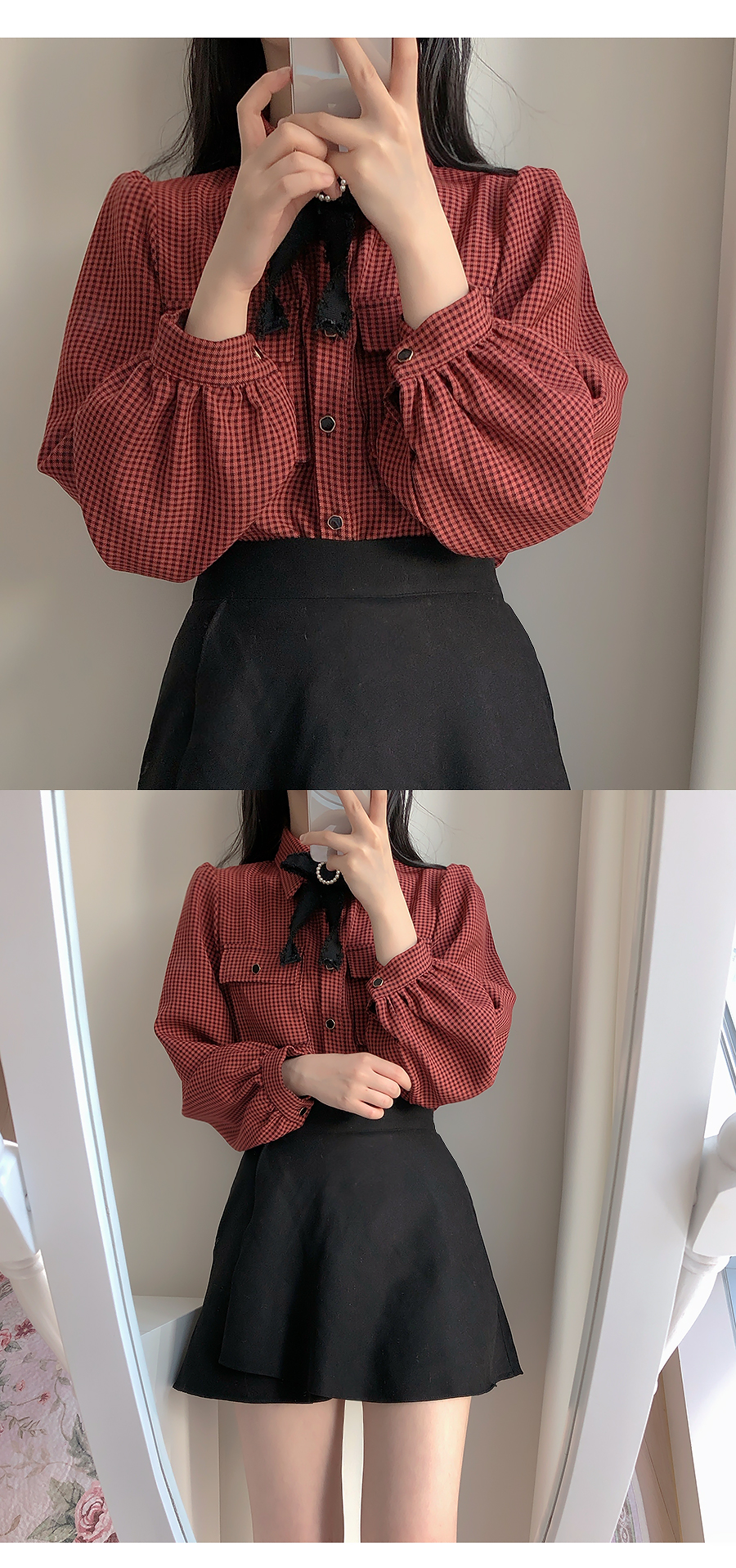 Brooch set bird check two-pocket blouse