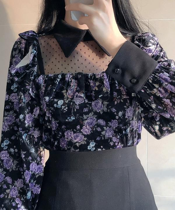 Schnee Velvet Flower Blouse 襯衫