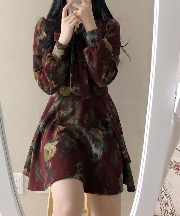 Mocle Flower Ribbon Dress ワンピース