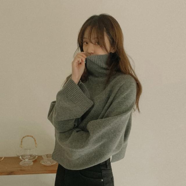 Viva turtleneck crop wool knit ニット