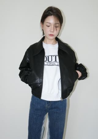 fake leather formal blouson