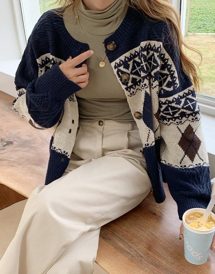 Mixed Argyle Toming Cardigan 開襟衫