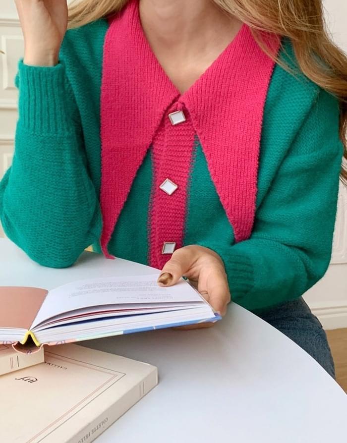 Celebrity Big Color Pearl Knit Cardigan 開襟衫