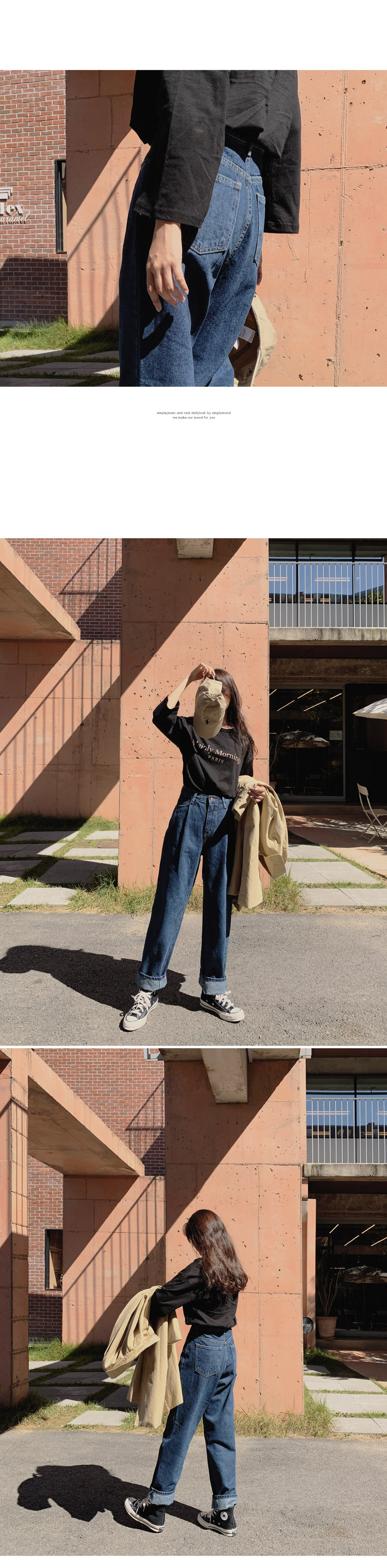From straight-fit denim trousers