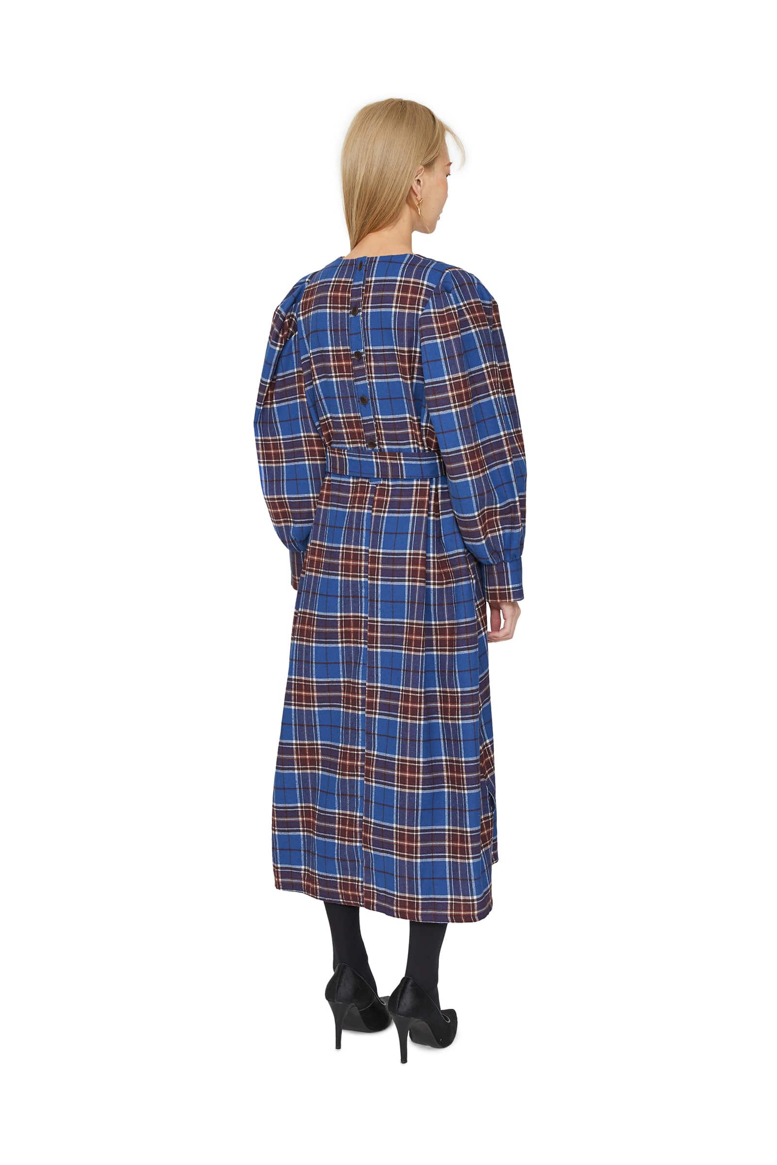 Trick check puff midi dress