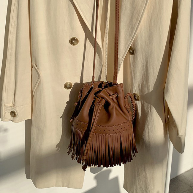 Urban Bros Tassel Dot and Cross Leather Bag
