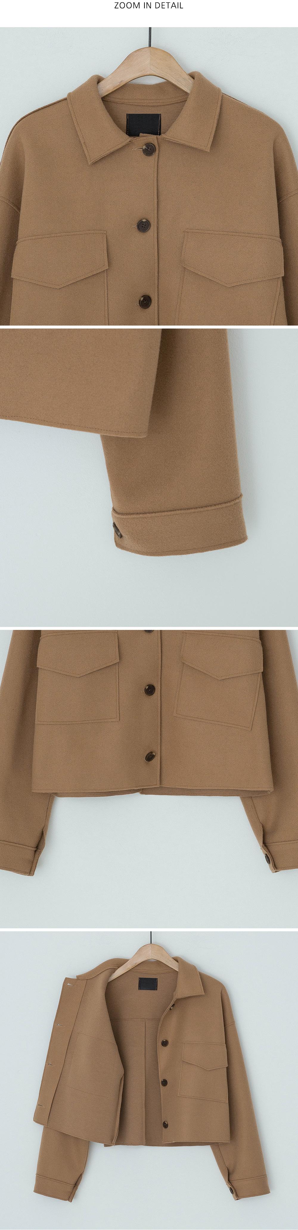 Creamy Big Pocket Crop Jacket