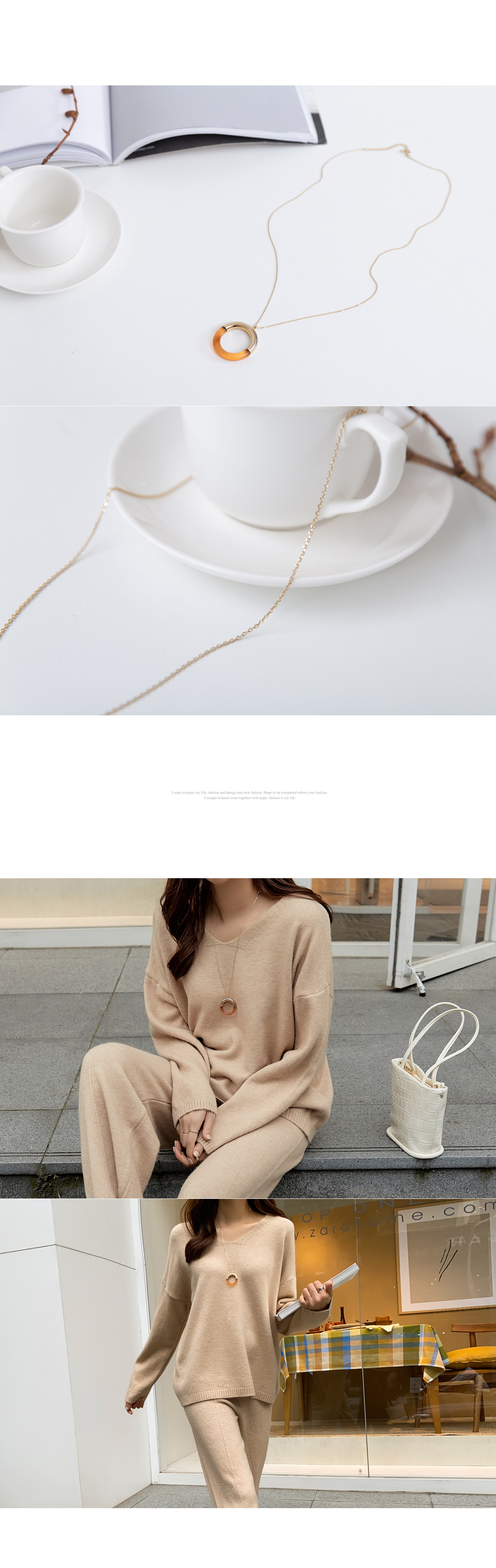 Two-tone Semicircle Long Necklace #86322