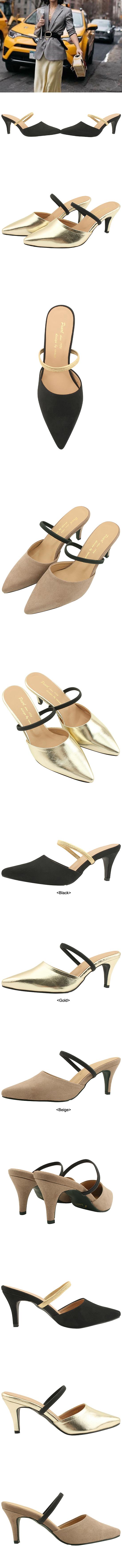 Stiletto Mary Jane Mule Slippers Black