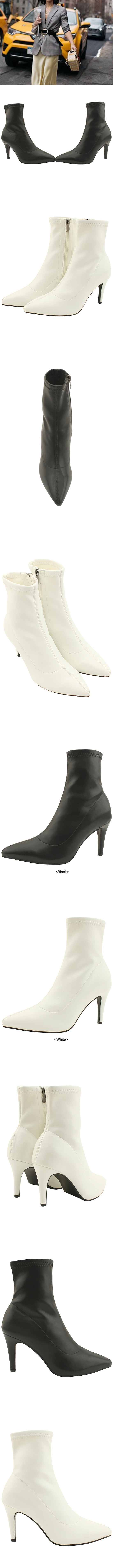 Span Stiletto High Heel Ankle Boots Black