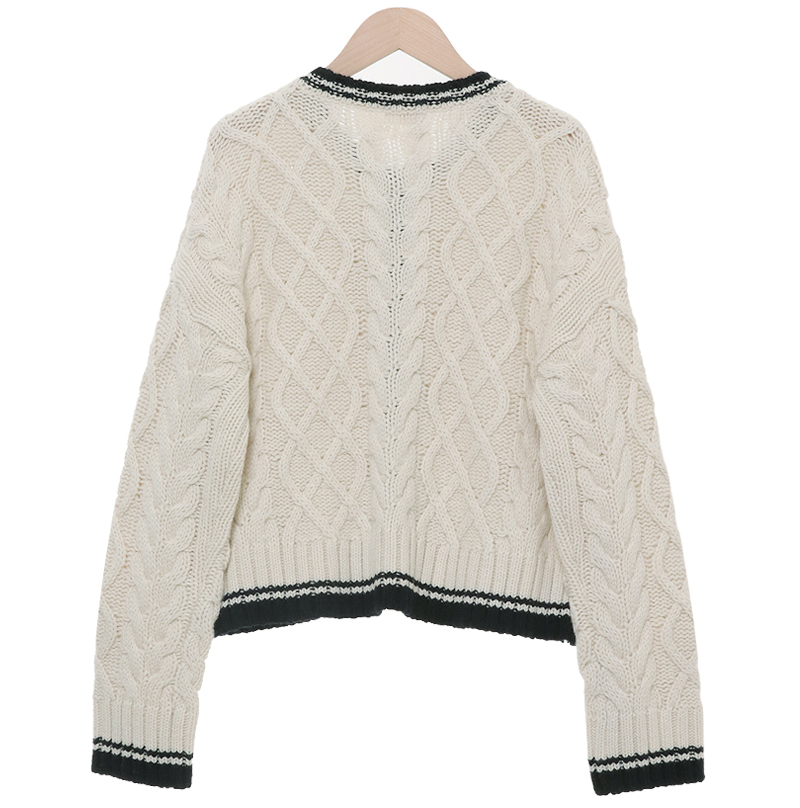 Color scheme cable wool cardigan