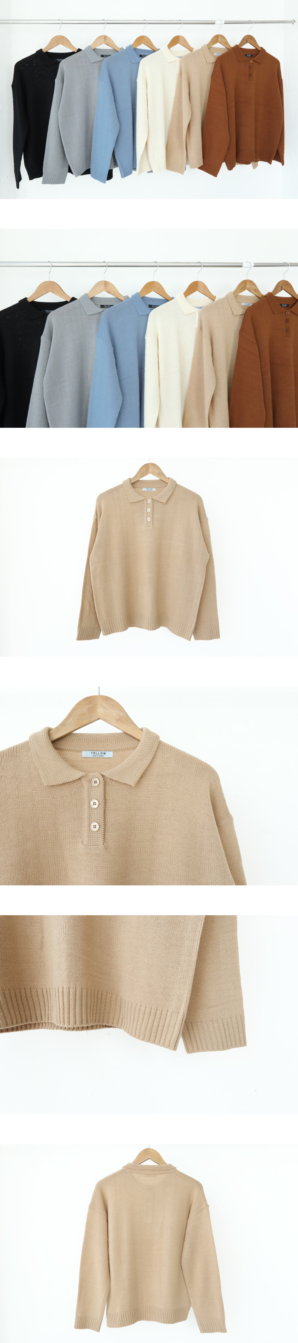 Collar 3-button knit