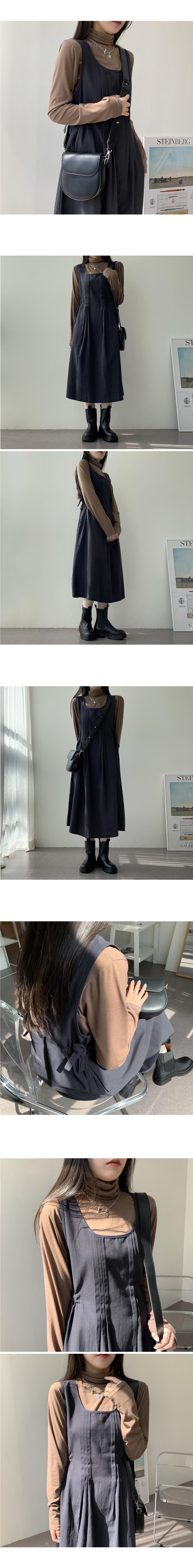 OEL side ribbon cotton pleated long dress
