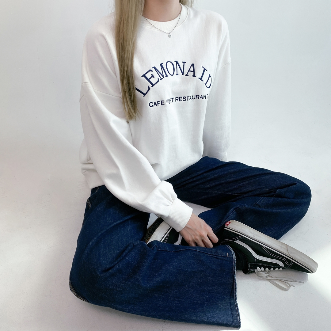 NEVERM!NDEmbroidered Lettering Baggy Sweatshirt