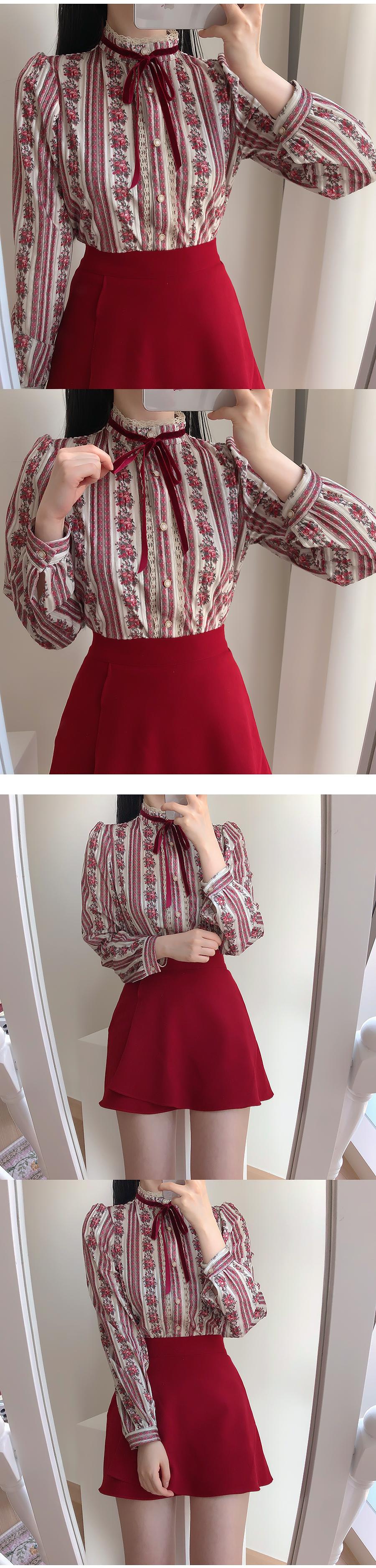 Marian velvet floral blouse