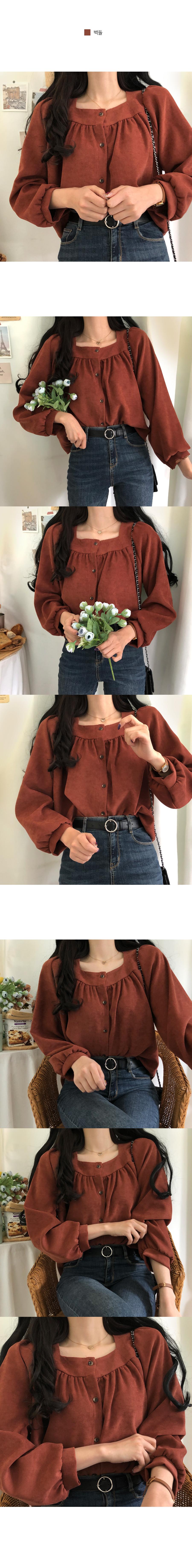 Lauren square-neck peach blouse