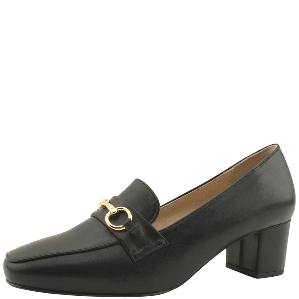 Gold Horsebit Classic Loafers Middle Heel 5cm