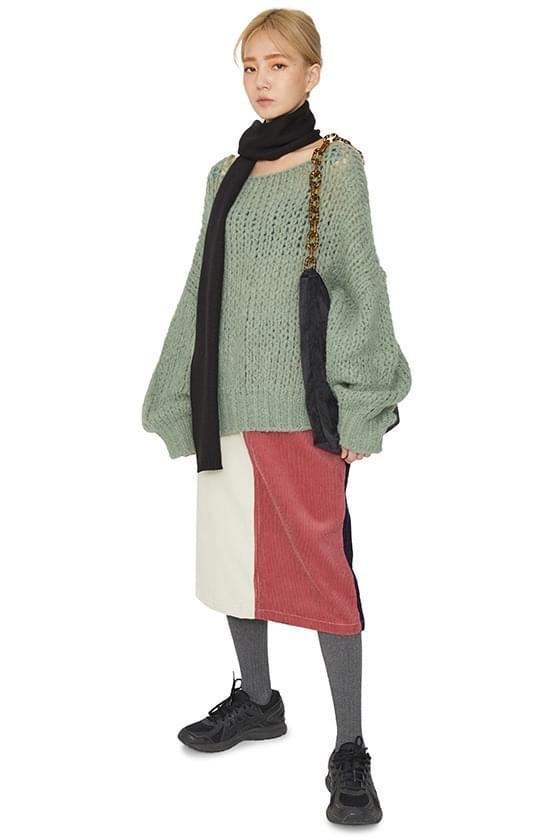 Toy color corduroy midi skirt