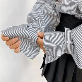Voluminous sleeves fleece blouse