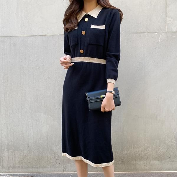 Bow Latte/Line Collar One Piece #37749