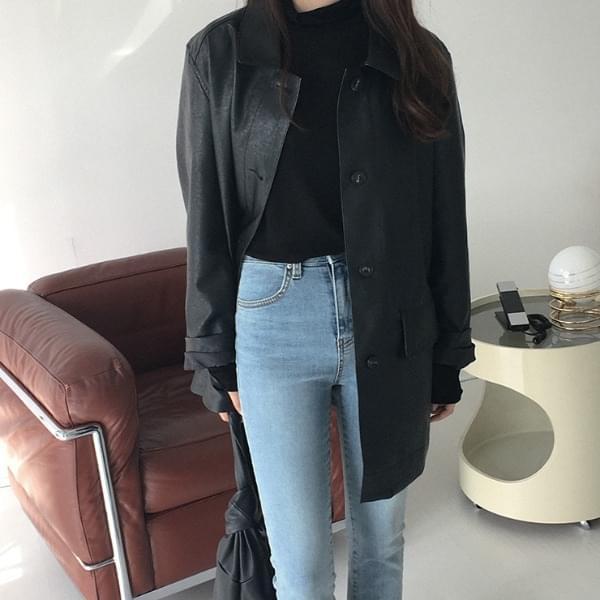 Museum leather belt jacket