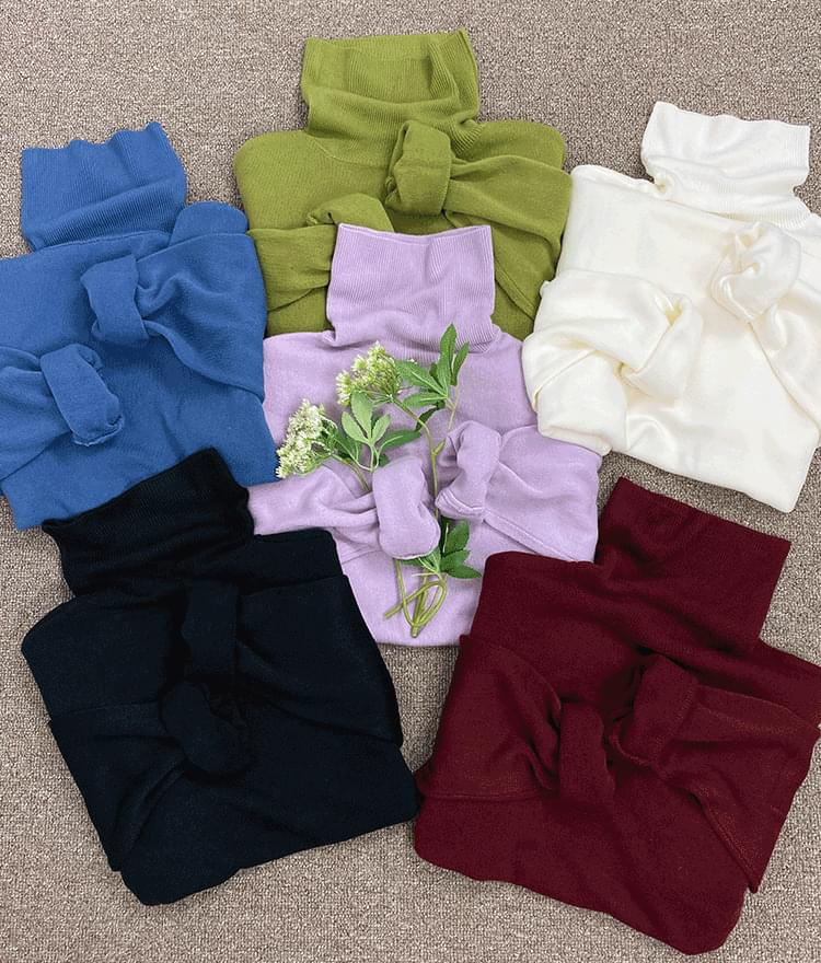 365 BASICFoldover Turtleneck Knit Top
