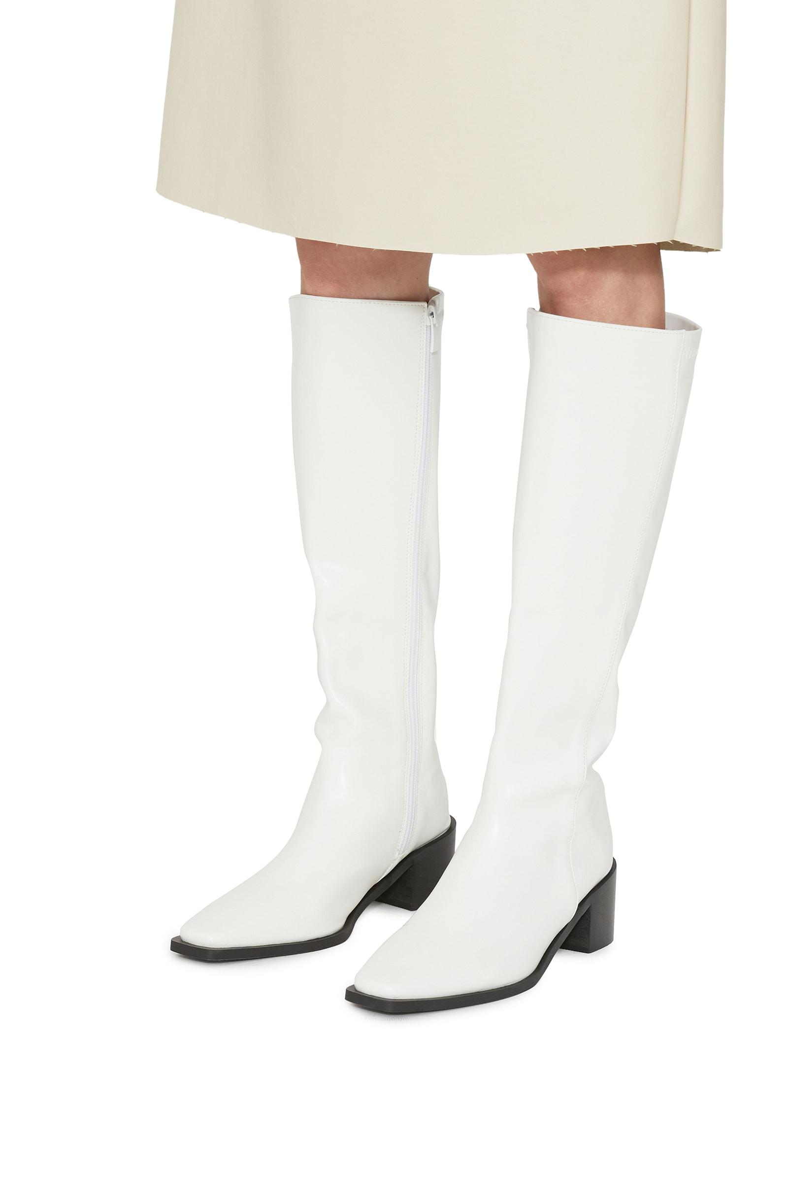 Live Fleece-lined middle heel long boots