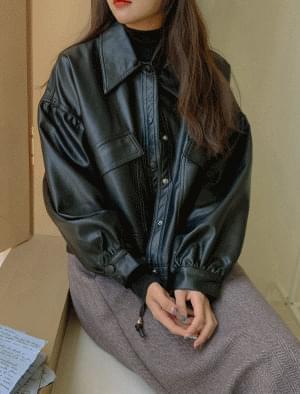 Lodi puff sleeve leather jacket