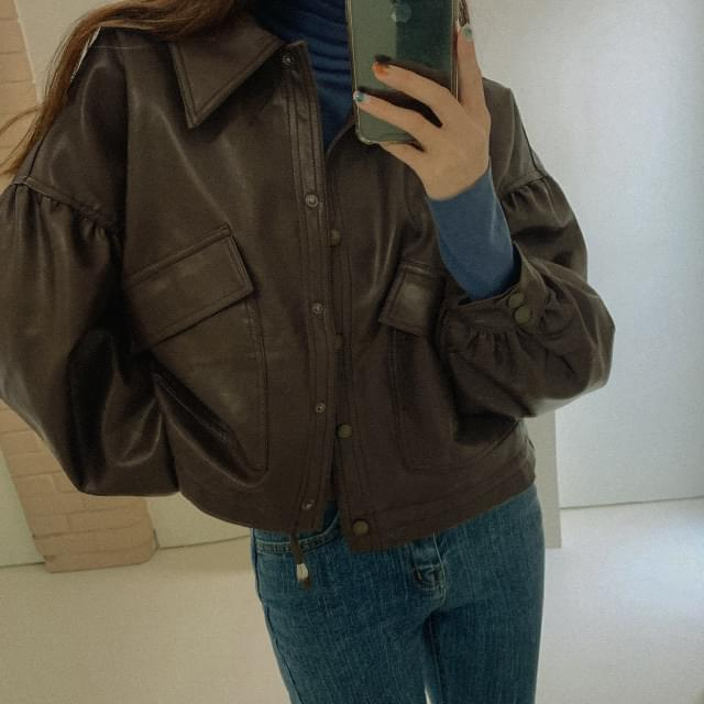 ロディパフ袖レザージャケット