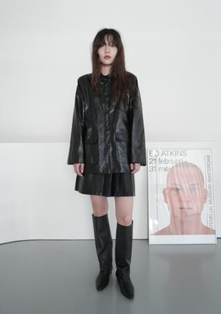 glossy crack fake leather jacket