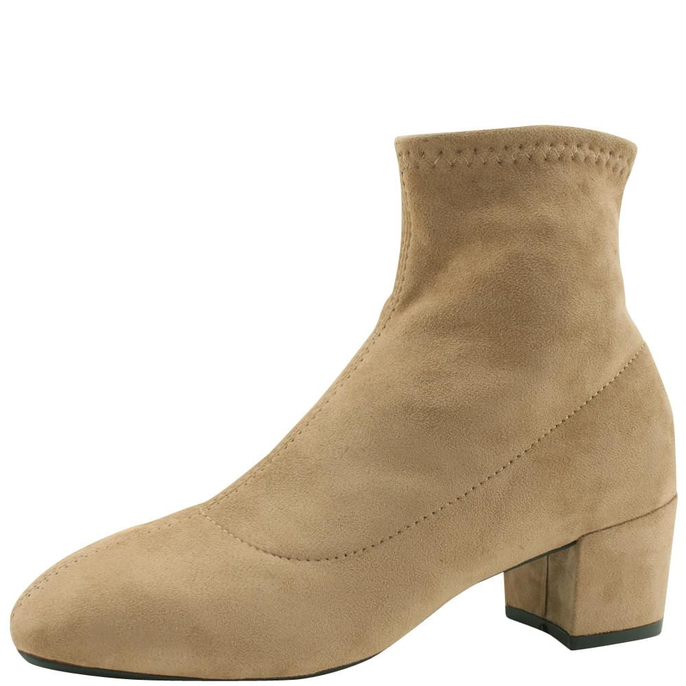 Suede Span Socks Ankle Boots Beige