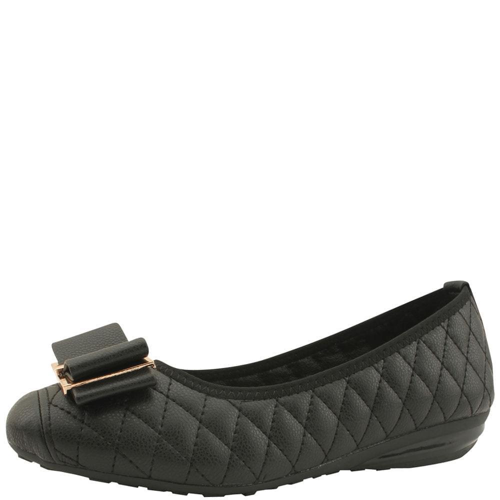 Ribbon Qualting Wedge Low Heel Loafers Black