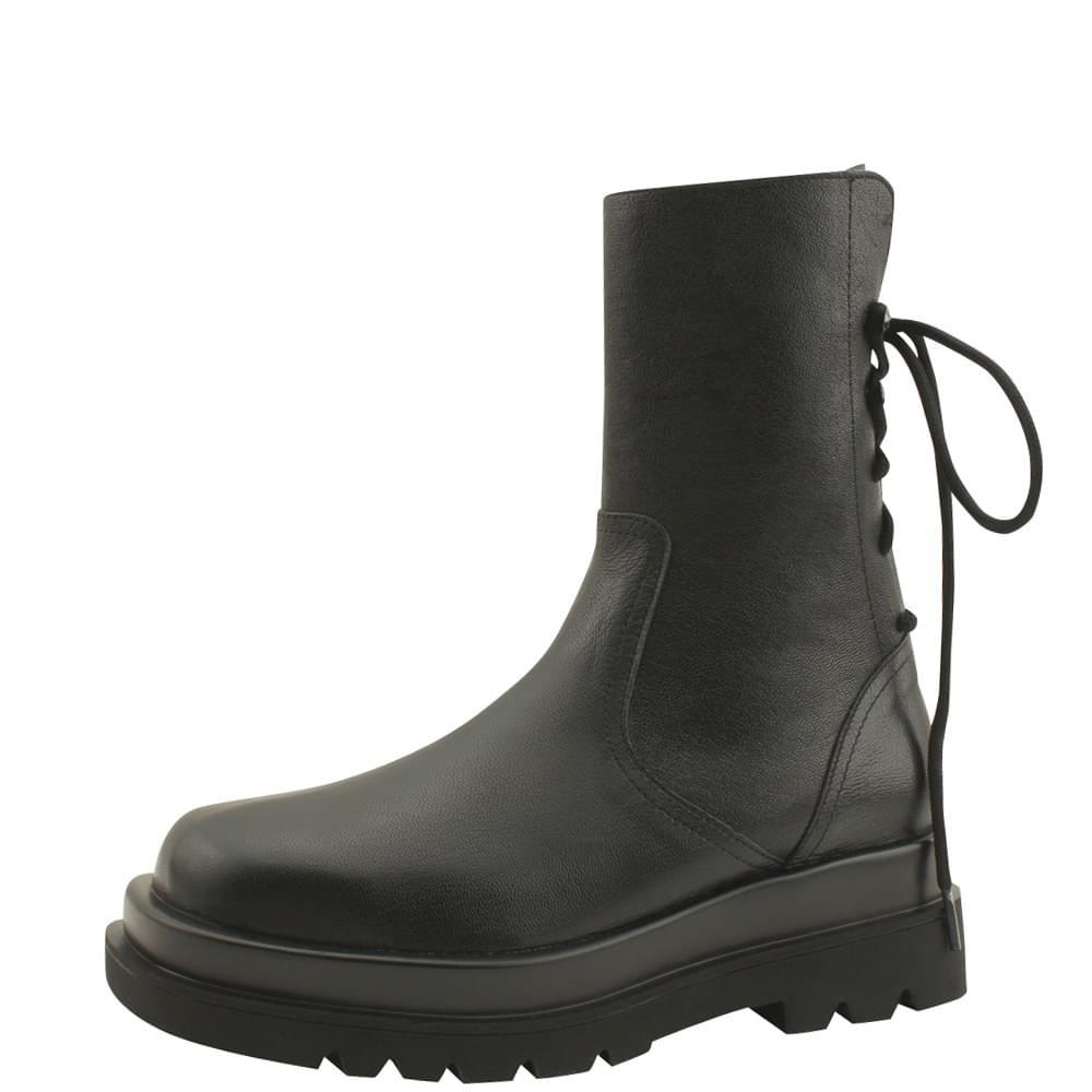 Cowhide Ribbon Walker Full Heel Ankle Boots 5cm