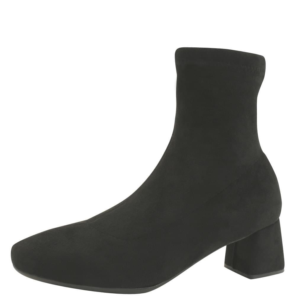 Slim Span Socks Ankle Boots Middle Heel Black